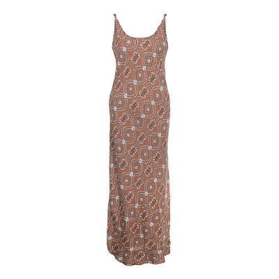 unique pattern u-neck long dress